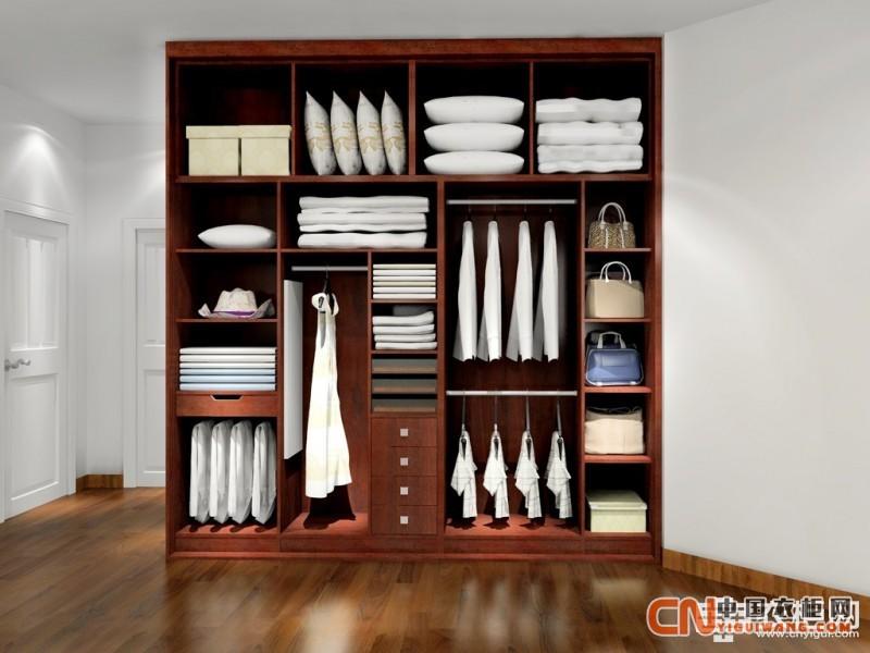 胡桃木整体衣柜图片 彰显大气稳重的氛围