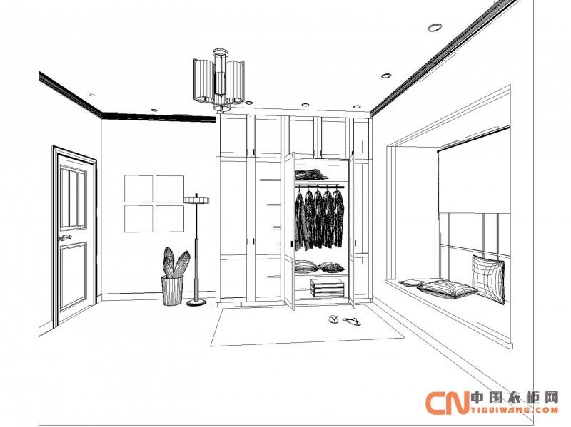 衣柜尺寸手绘效果图
