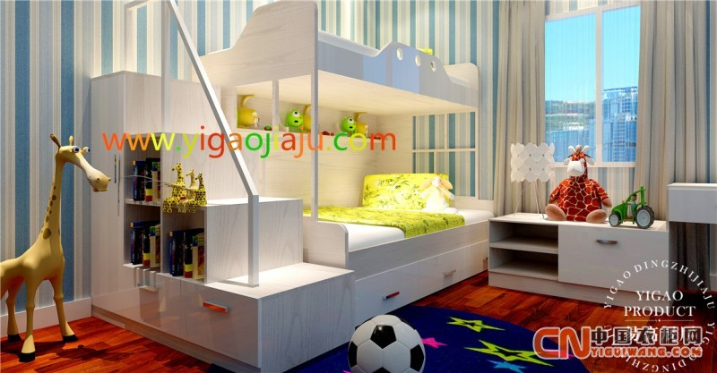 供应实木可爱环保儿童床 儿童房——易高定制家具