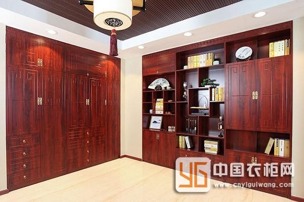新中式风格岭南印象红系列书柜+衣柜