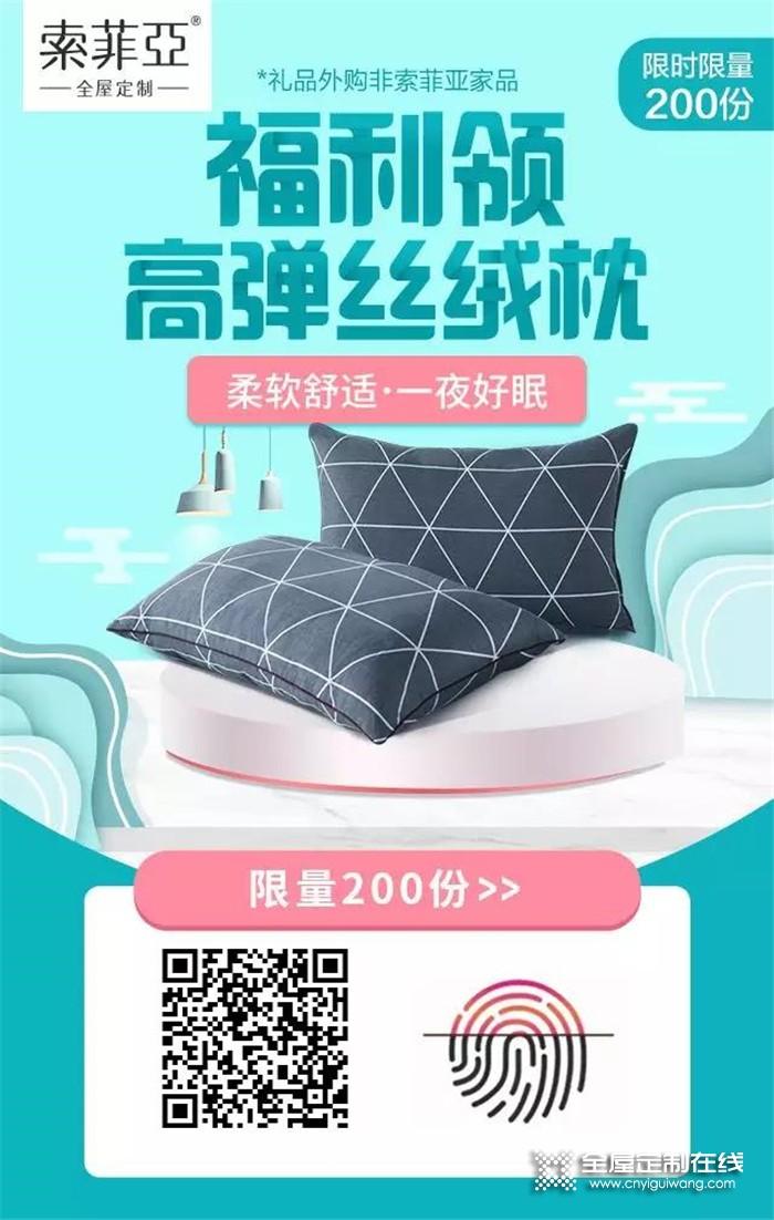索菲亚全屋定制免费送高弹丝绒枕,让你不再遭受失眠困扰!