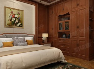 雅丽家新古典风实木主卧室衣柜装修效果图