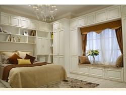 澳都白色卧室衣柜书桌飘窗柜