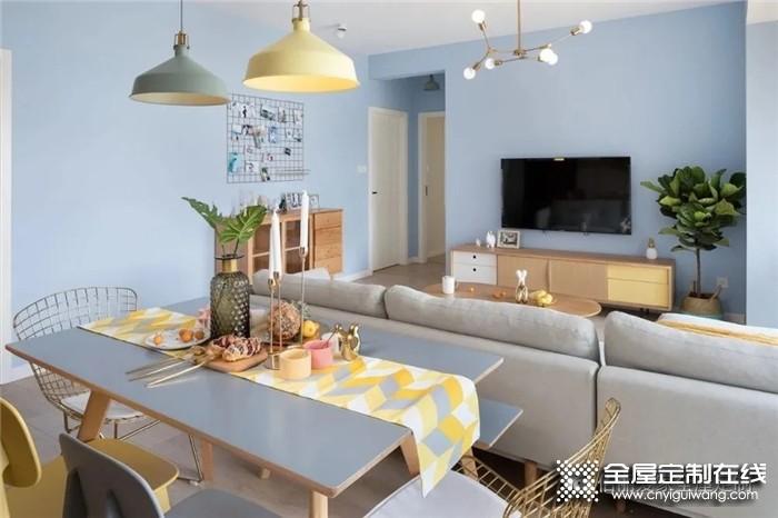佰丽爱家设计的三房北欧风,蓝色背景墙很小清新