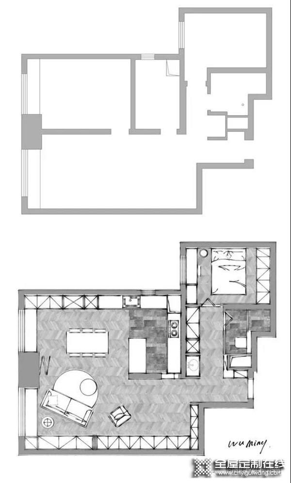 佰丽爱家全屋定制:77㎡的美食博主之家,客厅定制整面墙的储物柜!