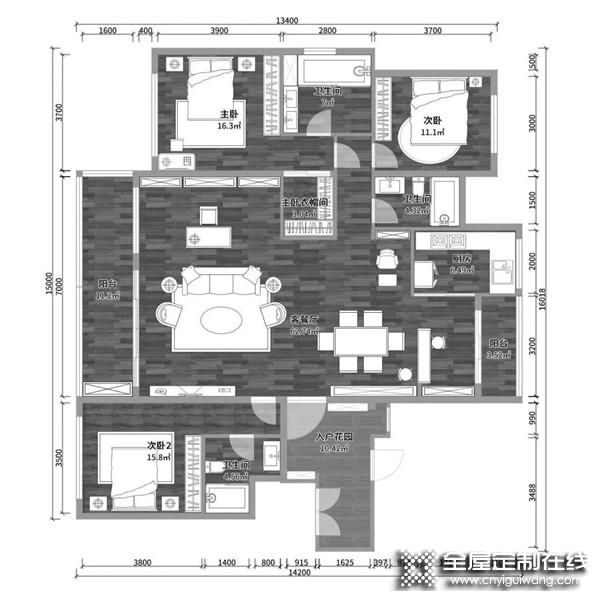 卡诺亚定制家居:这个147㎡四房两厅太太太大胆了!