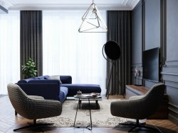 110㎡轻奢美式风格装修,灰蓝色让整体家居颜值提升不止一倍!