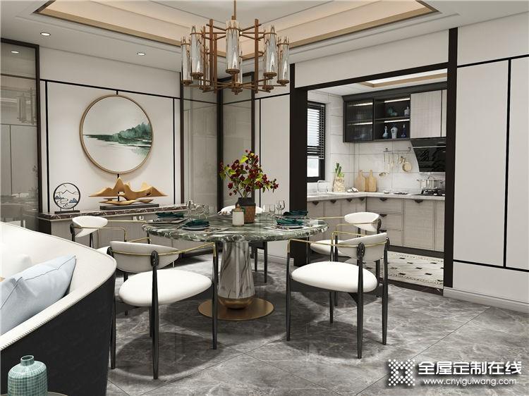 德维尔全屋定制新中式客餐厅设计风格效果图