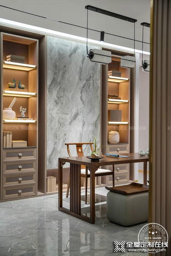 易高定制家居新中式系列卧室、书房装修效果图