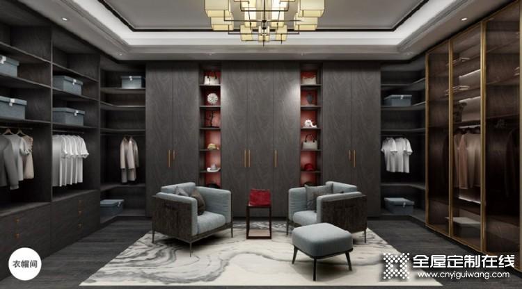 樱花整体衣柜新中式装修图,水墨云舒系列产品效果图